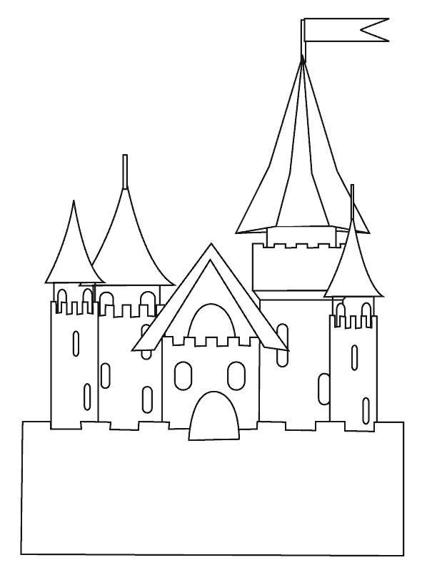 Замок принцессы с флагом Раскраски для девочек онлайн