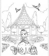 Двор замка маленькой принцессы Раскраски для девочек онлайн