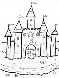 Замок принцессы на песке Раскраски для девочек онлайн