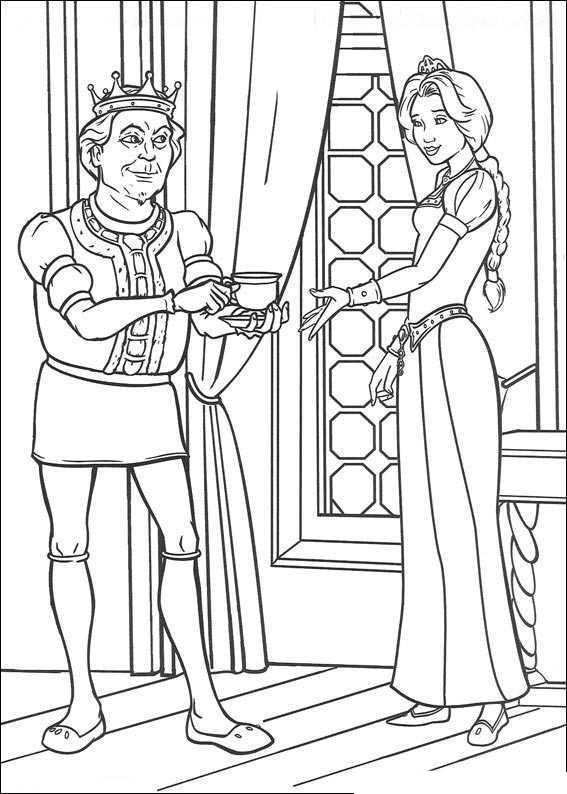 Король с принцессой в замке Раскраски для девочек онлайн