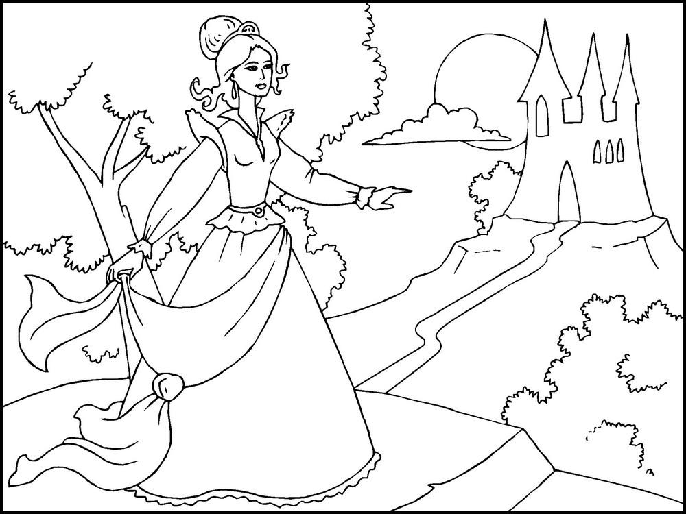 Принцесса танцует возле замка Раскраски для девочек онлайн