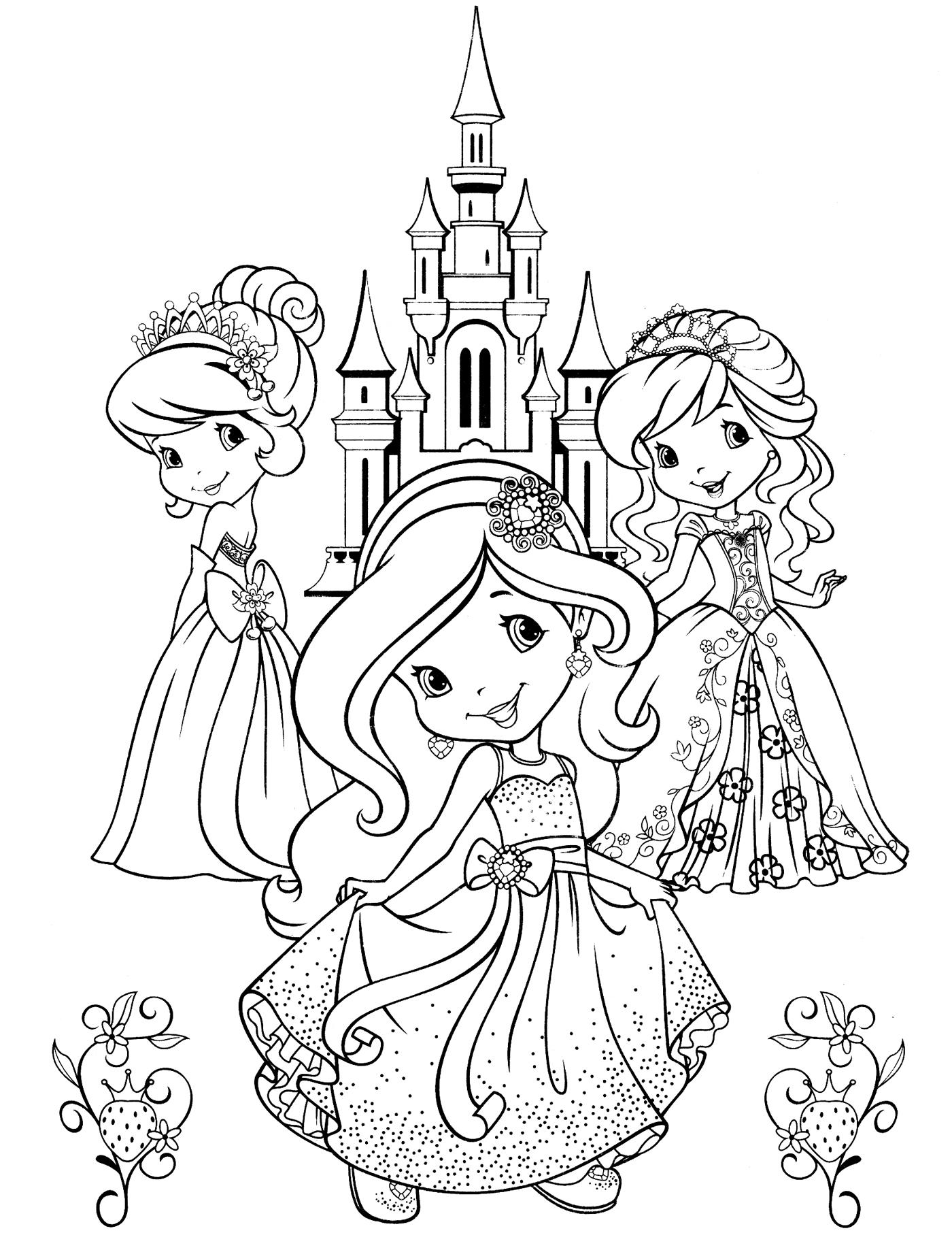 Три принцессы возле замка Раскраски для девочек онлайн