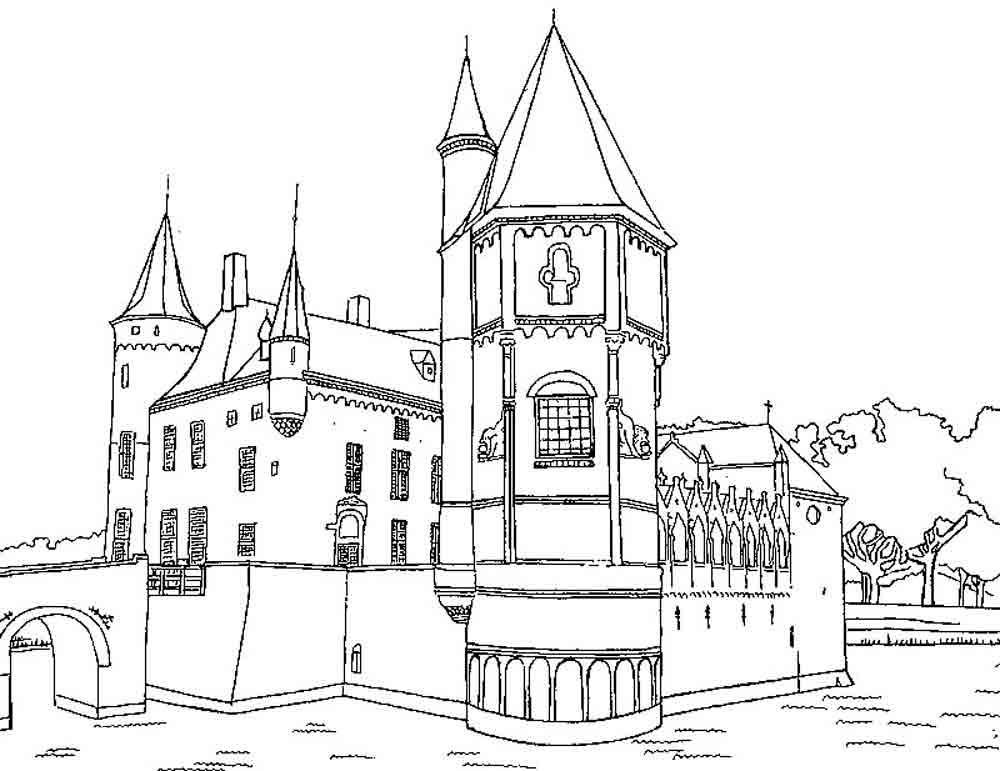 Замок принцессы с аркой Раскраски для девочек онлайн