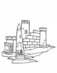 Простой замок принцессы Раскраски для девочек онлайн