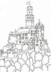Замок принцессы среди деревьев Раскраски для девочек онлайн