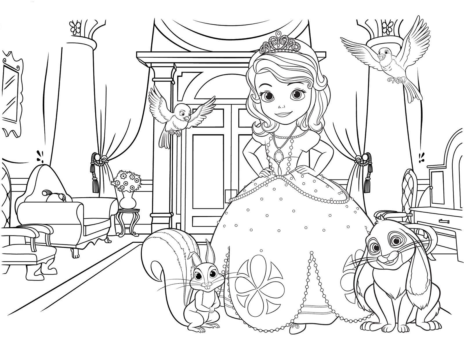 Маленькая принцессы в замке Раскраски для девочек онлайн