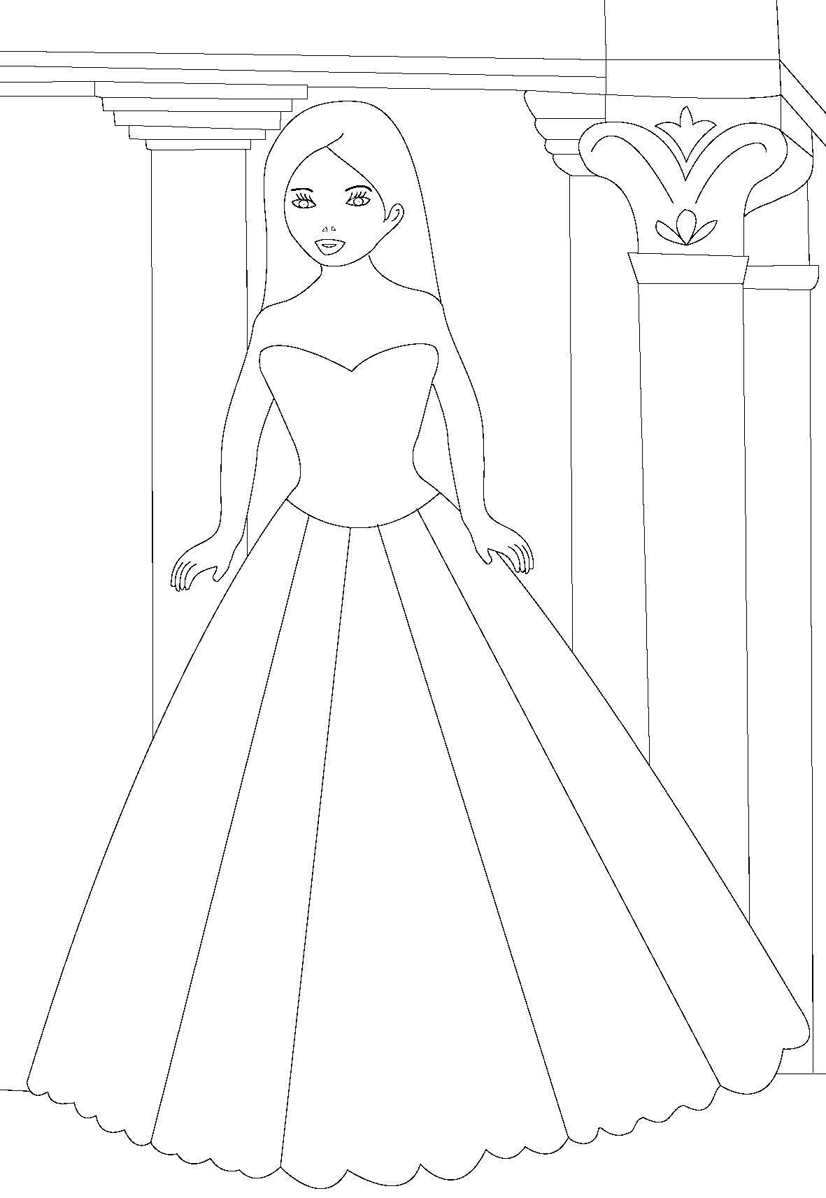 Принцесса в замке Раскраски для девочек распечатать
