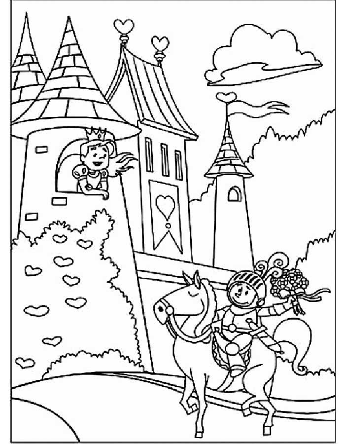 Принцесса выглядывает из окна замка Раскраски для девочек онлайн