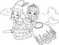 Принцесса и колдунья летят на метле Раскраски для девочек распечатать
