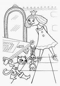 Принцесса в замке из мультфильма про кота в сапогах Раскраски для девочек онлайн