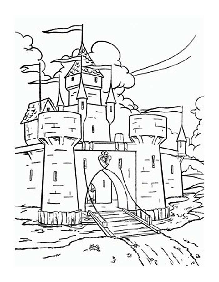 Замок принцессы с открытыми вратами Раскраски для девочек распечатать