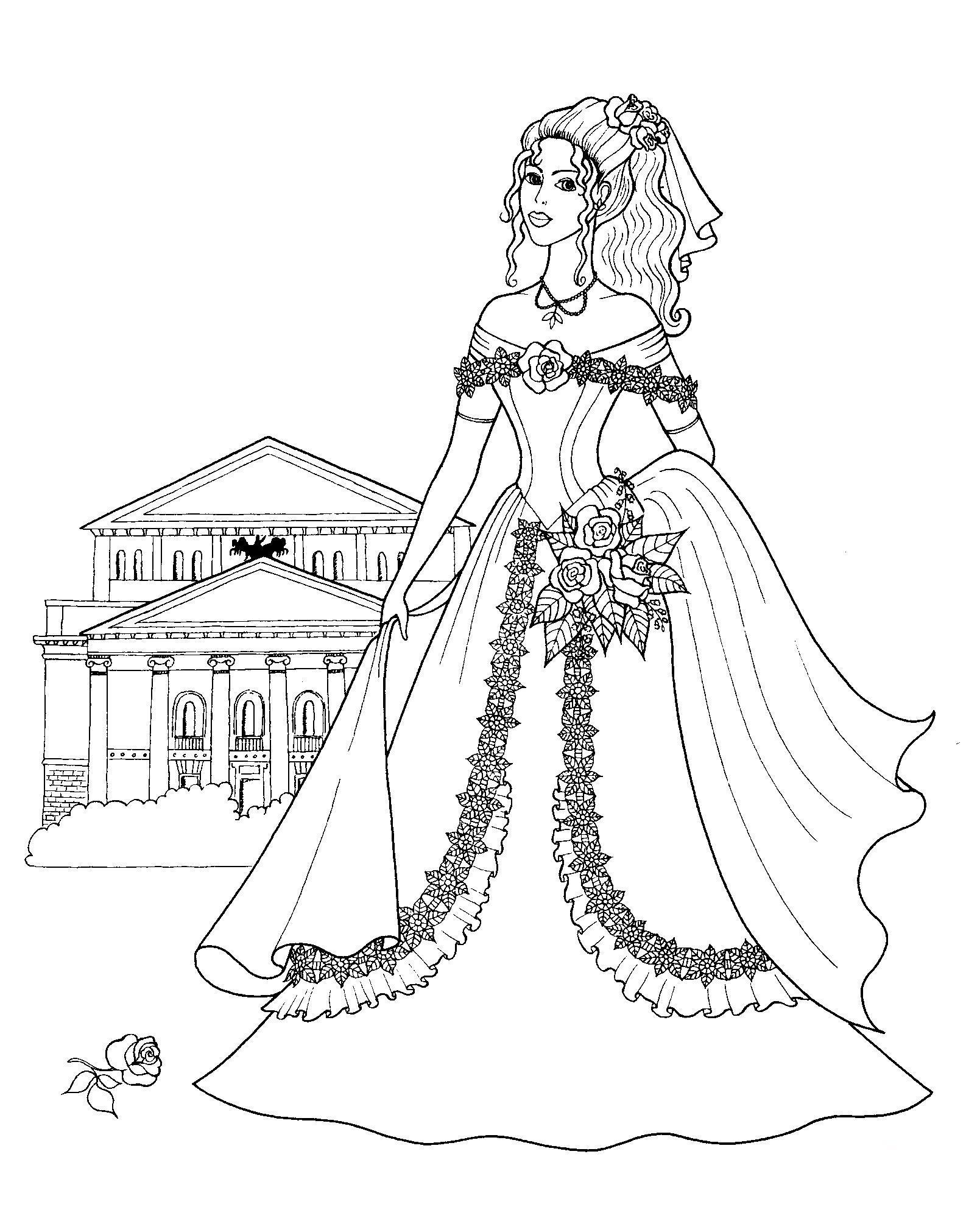 Замок принцессы с розами Раскраски для девочек онлайн