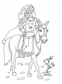 Принц едет на лошади Красивые раскраски цветов