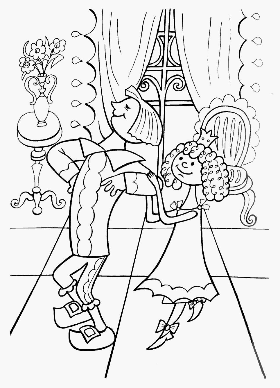 Маркиз карабас и принцесса в замке Раскраски для девочек распечатать