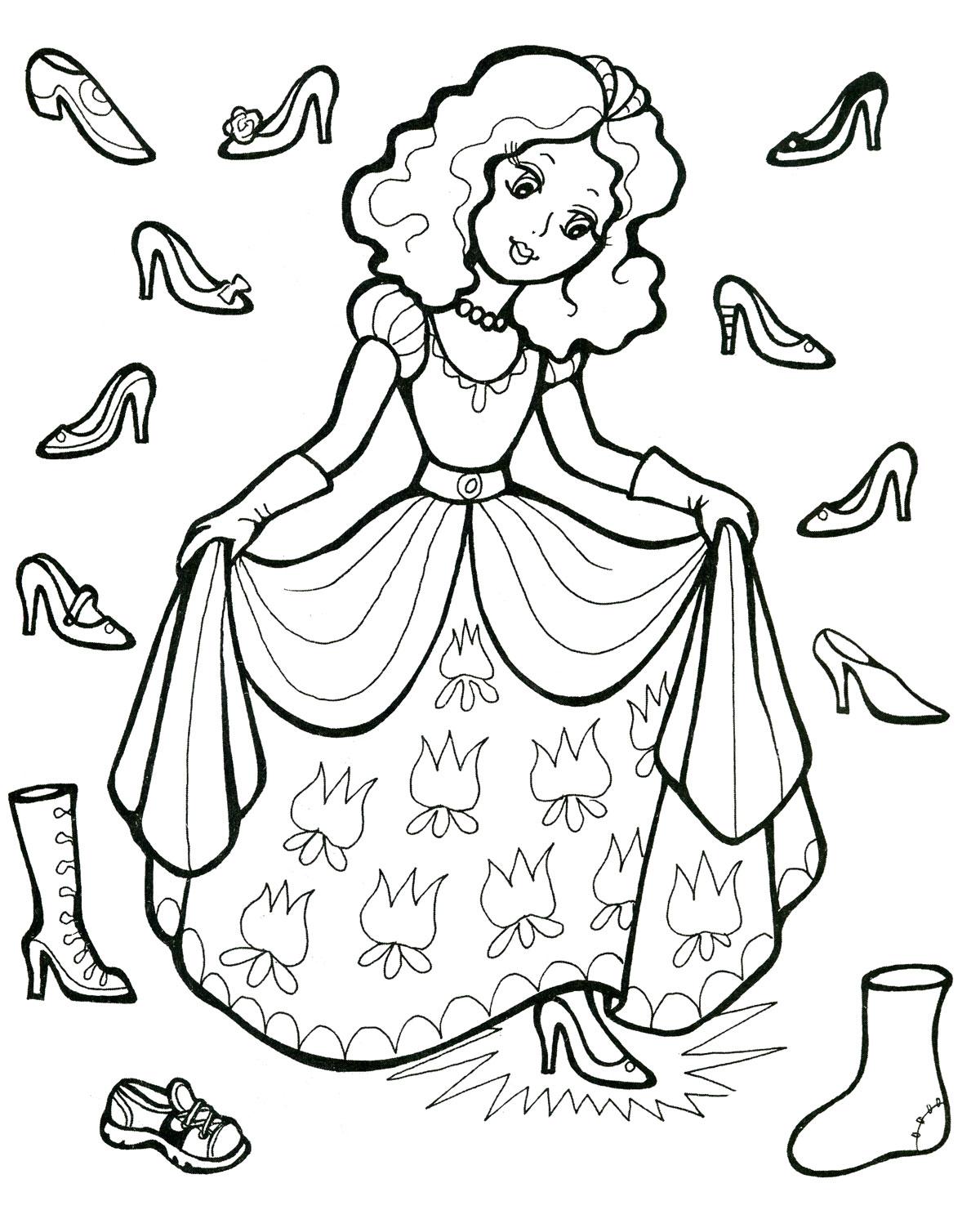 Девушка примеряет туфли Раскраски для девочек онлайн