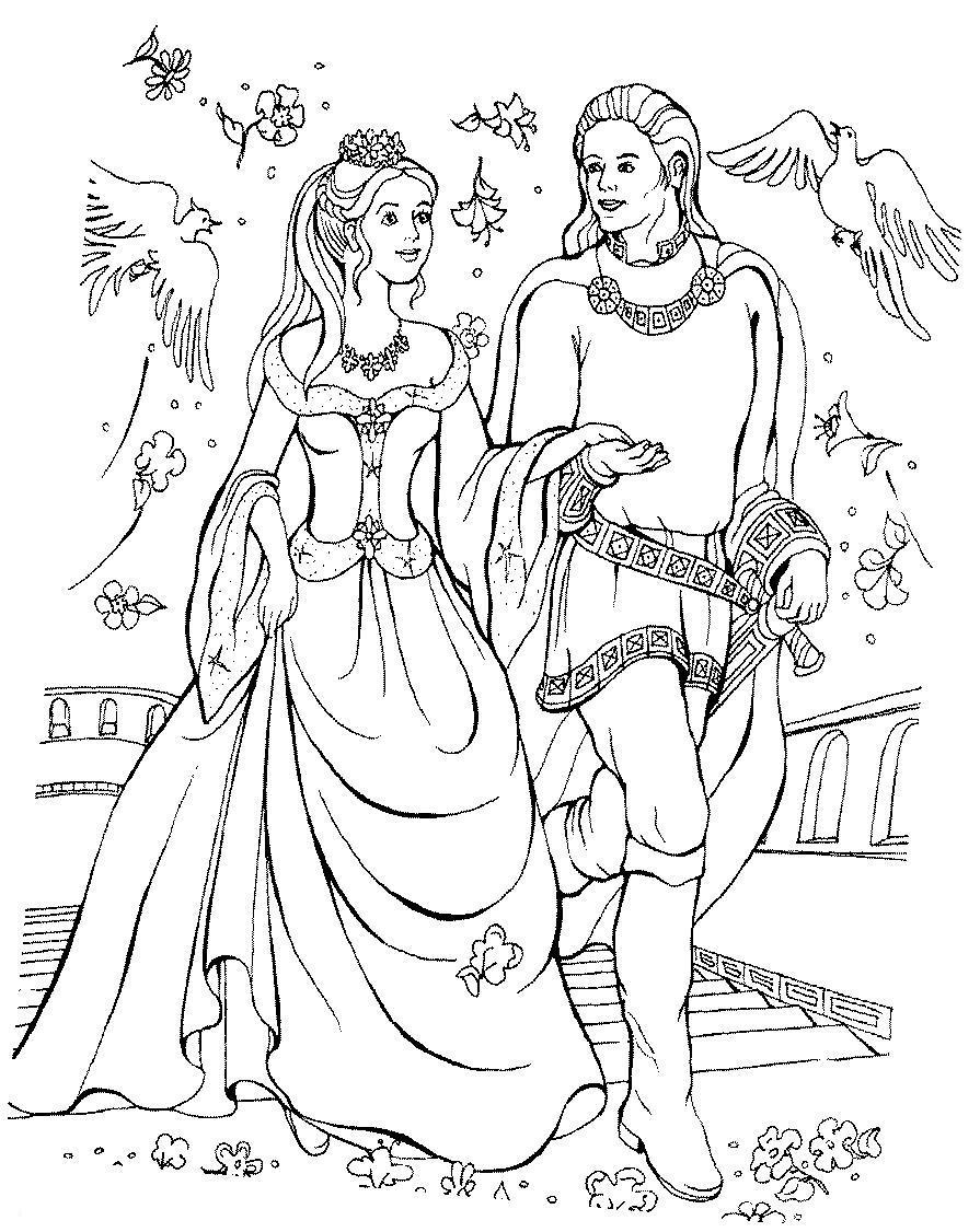 Принц и принцесса идут по лестнице Найти раскраски цветов