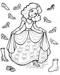 Девушка примеряет туфли Раскраски цветы хорошего качества