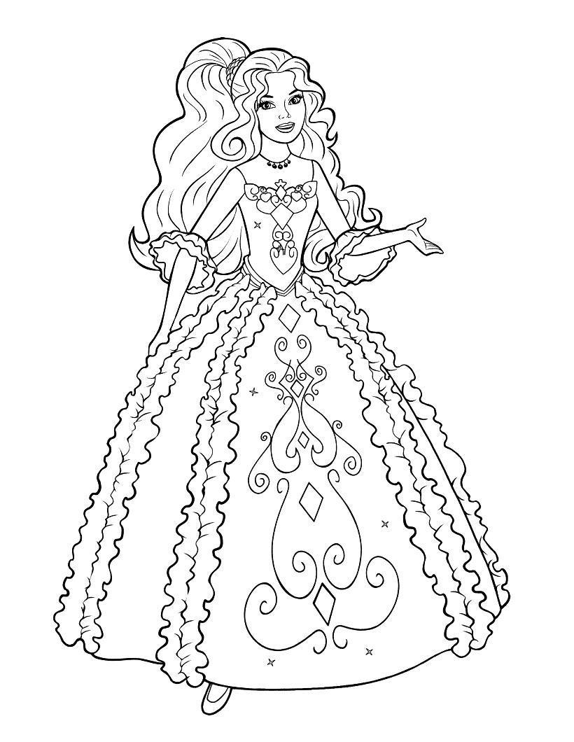 Девушка в роскошном бальном платье Раскраски для девочек скачать