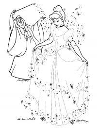 Фея и золушка в новом платье Раскраски для девочек скачать