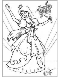 Принцесса с цветами на балу Раскраски с цветами распечатать бесплатно