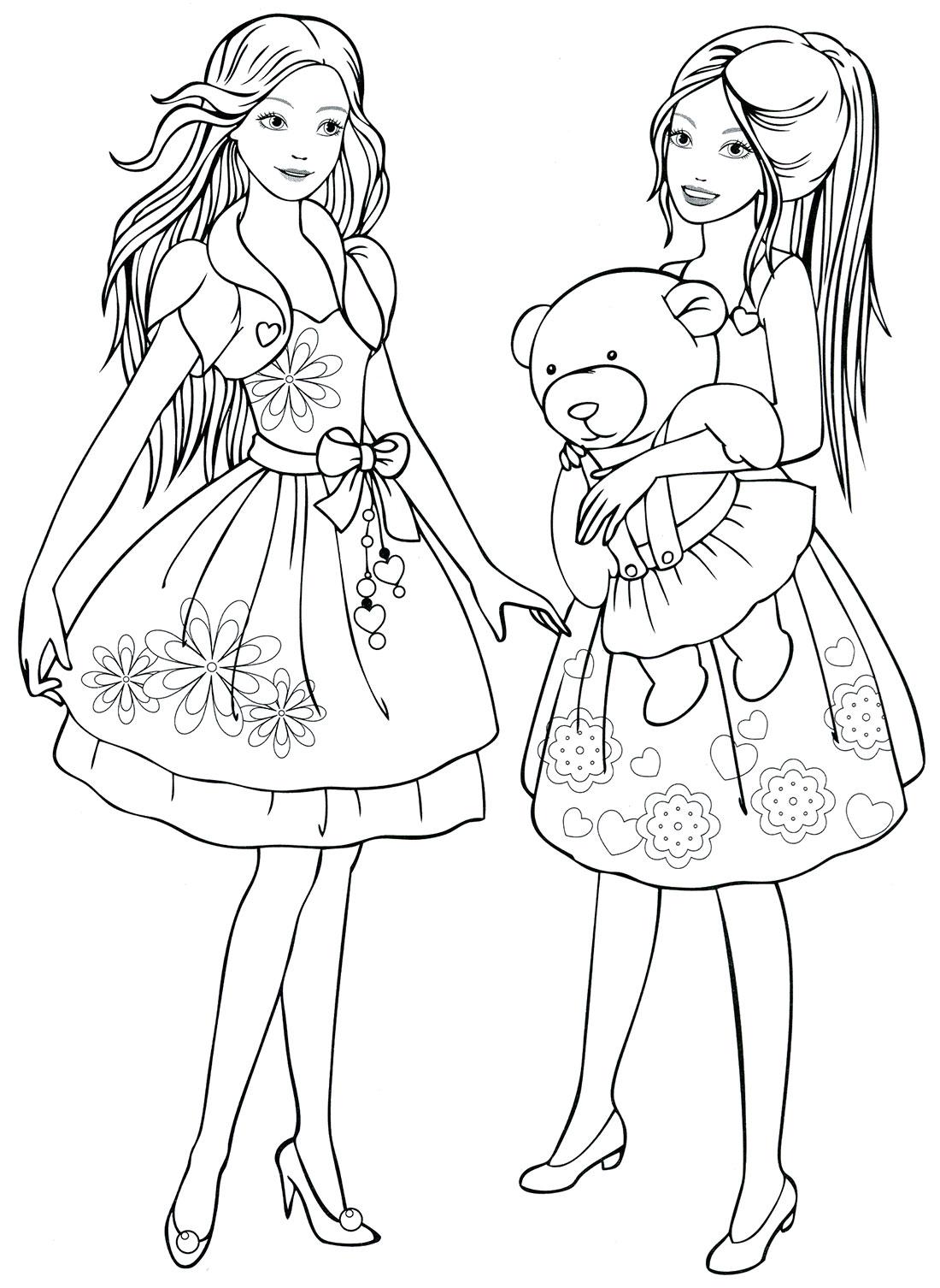 Девочки в платье с медвежонком Раскраски для девочек распечатать