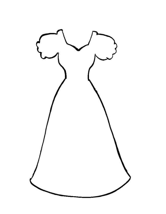 Простое платье Раскраски для девочек распечатать