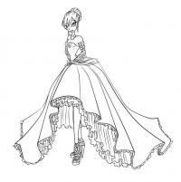 Девочка в необычном платье Раскраски для девочек распечатать