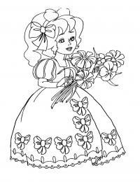 Девочка в платье с бантами Раскраски для девочек распечатать