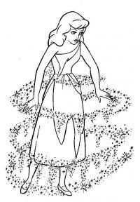 Девочка в волшебном платье Раскраски для девочек распечатать