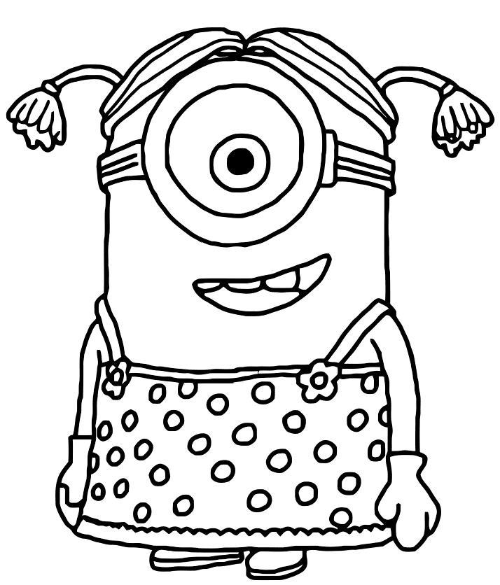 Миньон в платье Раскраски для девочек распечатать