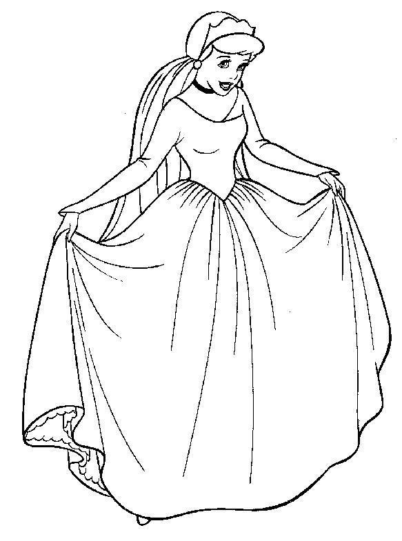 Принцесса в платье Раскраски для девочек распечатать