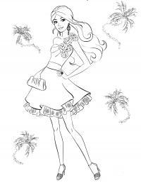 Девочка в коротком платье с цветами Раскраски для девочек распечатать