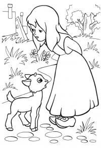 Девочка в платье с козленком Раскраски для девочек распечатать