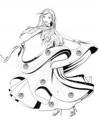 Девочка в развивающемся платье Раскраски для девочек распечатать