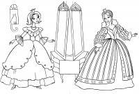 Принцессы возле зеркал Раскраски для девочек распечатать
