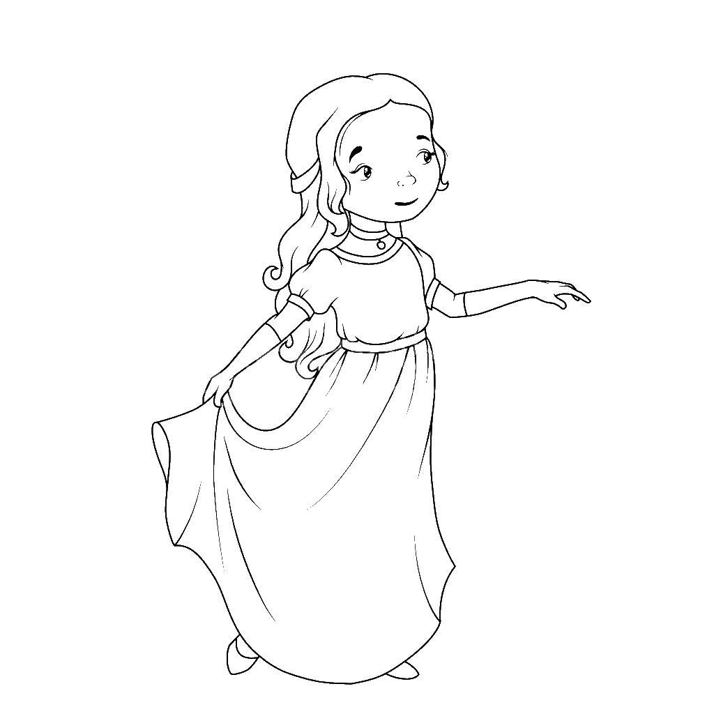 Девочка в длинном платье Раскраски для девочек распечатать
