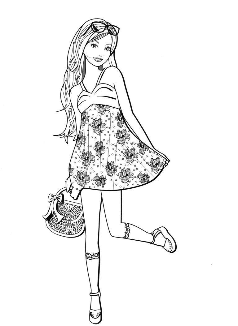 Девочка в платье в цветочек Раскраски для девочек распечатать