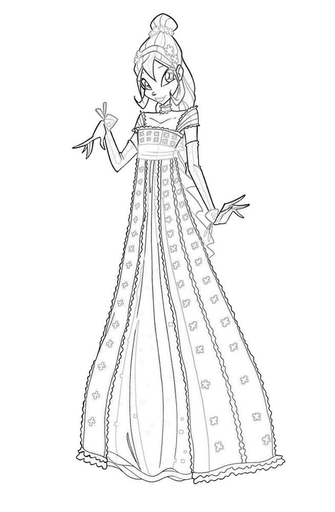 Винкс в платье Новые раскраски с цветами
