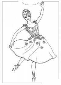 Балерина в платье Раскраски для девочек распечатать