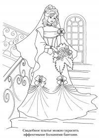 Девушка в свадебном платье Раскраски для девочек распечатать