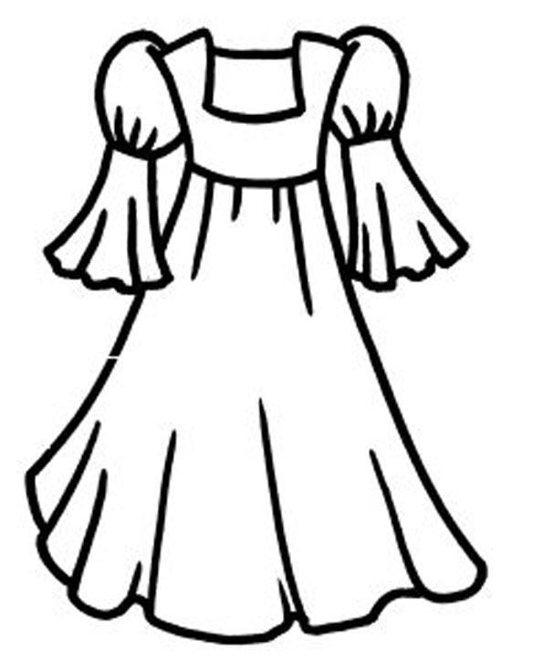Платье с руковом валанчиком Раскраски для девочек распечатать