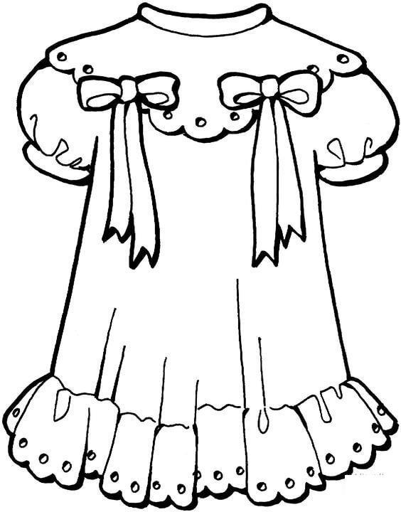 Платье с бантами Раскраски для девочек распечатать