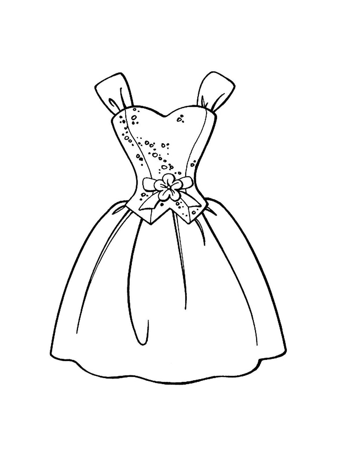 Платье с цветком с карсетом Раскраски для девочек распечатать
