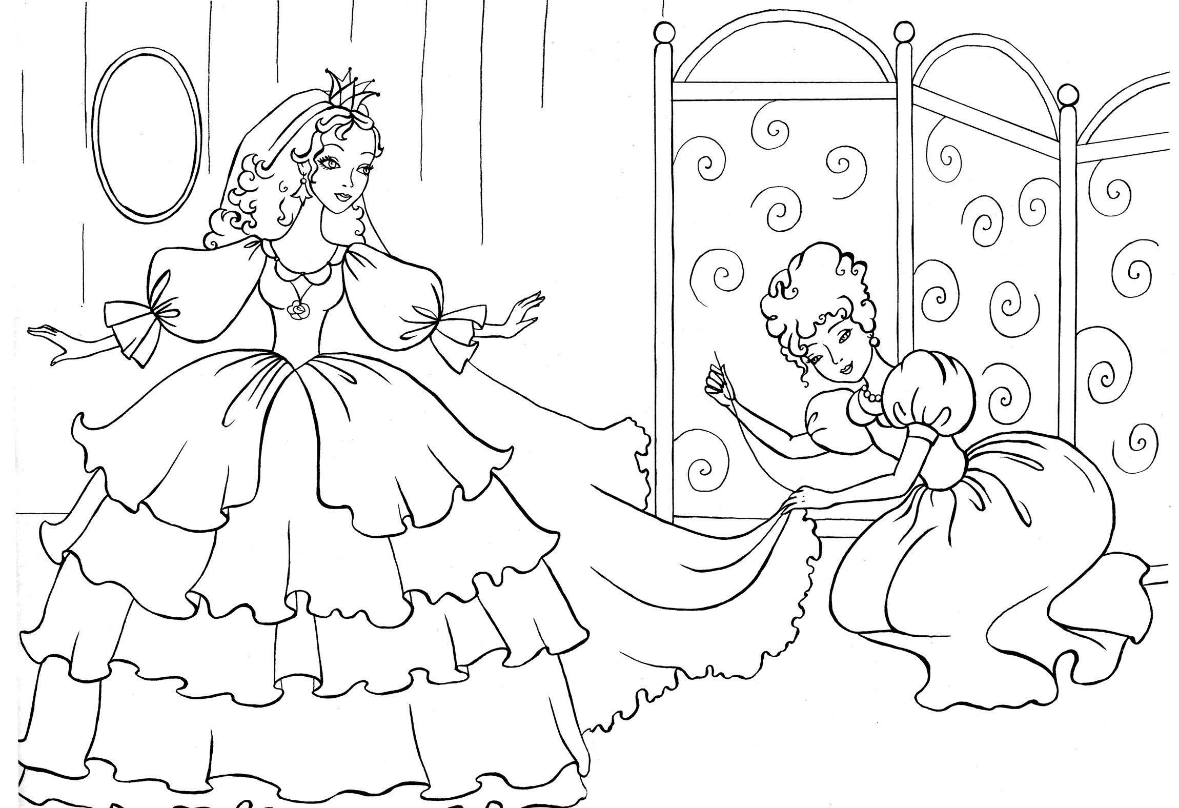 Швея шьет принцессе свадебное платье Раскраски для девочек скачать
