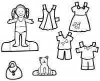 Девочка с косичками, одежда для бумажной куклы Раскраски для девочек распечатать