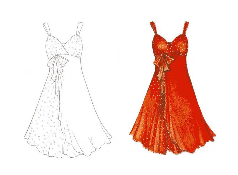 Платье двух тонов Раскраски для девочек распечатать