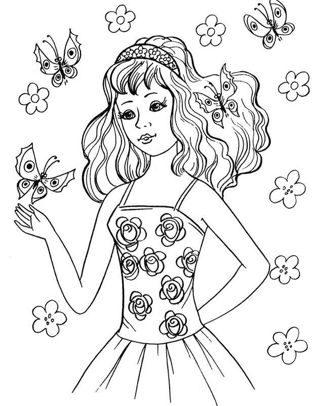 Девочка в платье с розами среди бабачек Раскраски для девочек онлайн