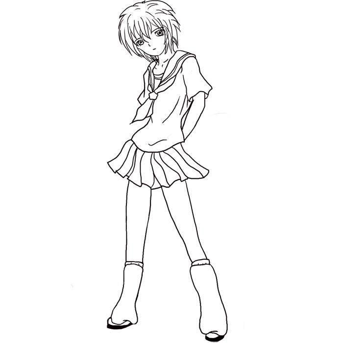 Девочка в школьной форме Раскраски с цветами распечатать бесплатно
