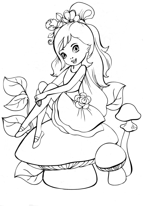 Маленькая девочка в платье на грибочке Скачать раскраски с цветами