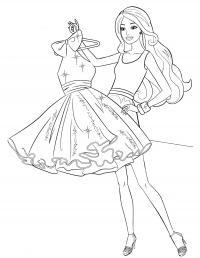 Модное платье для барби Раскраски с цветами распечатать бесплатно